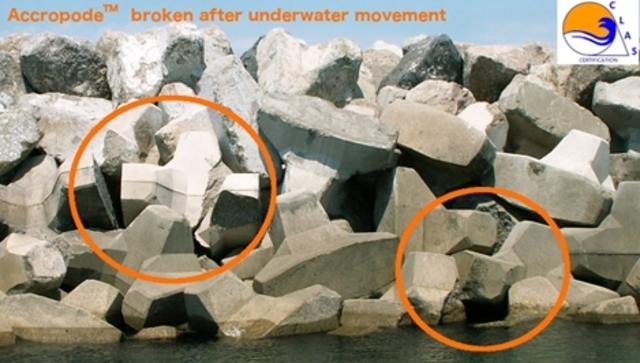 ACCROPODE cassés en place après mouvements sous l'eau - ACCROPODE broken